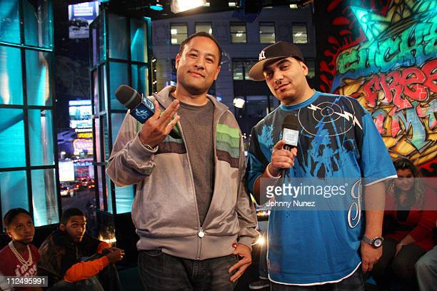 Dan the Automator and Cipha Sounds during Sucker Free on MTV with guests Letoya Baby Lil Wayne at MTV Studios in New York City New York United States