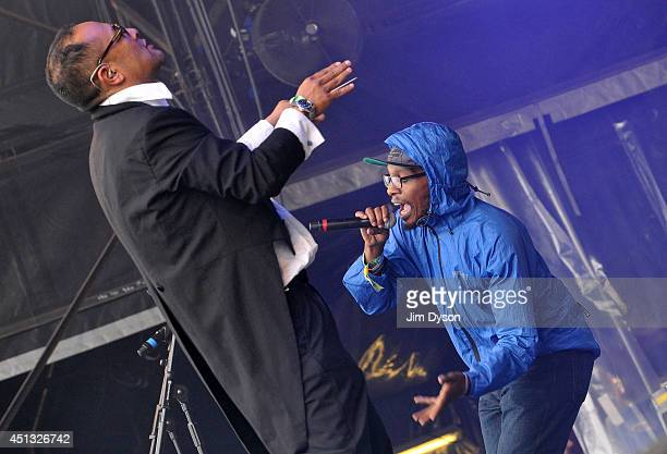 Dan the Automator and Del the Funky Homosapien of Deltron 3030 perform on the West Holts stage during Day One of the Glastonbury Festival at Worthy...