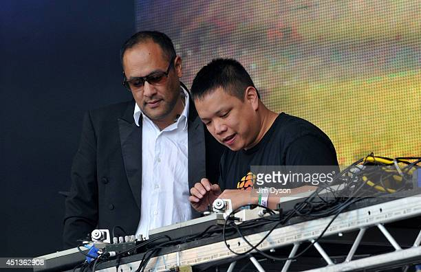 Dan the Automator and Kid Koala of Deltron 3030 perform on the West Holts stage during Day One of the Glastonbury Festival at Worthy Farm in Pilton...
