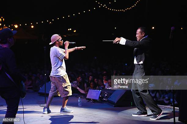 Dan The Automator and rapper Del the Funky Homosapien of the HipHop supergroup Deltron 3030 perform during 2014 Celebrate Brooklyn at the Prospect...