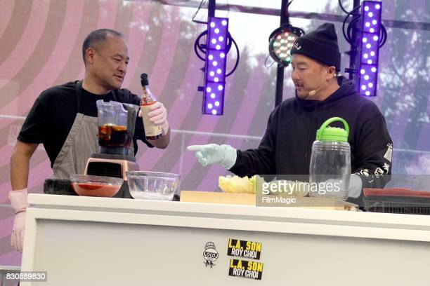 Dan the Automator and Roy Choi cook onstage for KIMCHI 3030 with Roy Dan and Del on the Gastro Magic Stage during the 2017 Outside Lands Music And...