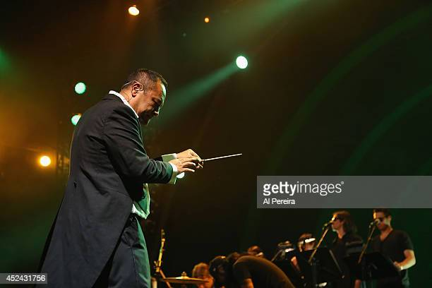 Dan The Automator of the HipHop supergroup Deltron 3030 perform during 2014 Celebrate Brooklyn at the Prospect Park Bandshell on July 19 2014 in the...