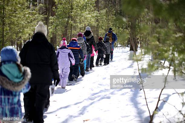 Dan Theobald leads a group of students from the Sam Placentino Elementary School from Holliston at the Moose Hill Wildlife Sanctuary The tour showed...