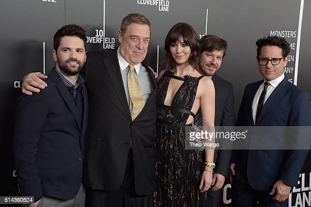 Dan Trachtenberg John Goodman Mary Elizabeth Winstead John Gallagher Jr and JJ Abrams attend the 10 Cloverfield Lane New York premiere at AMC Loews...