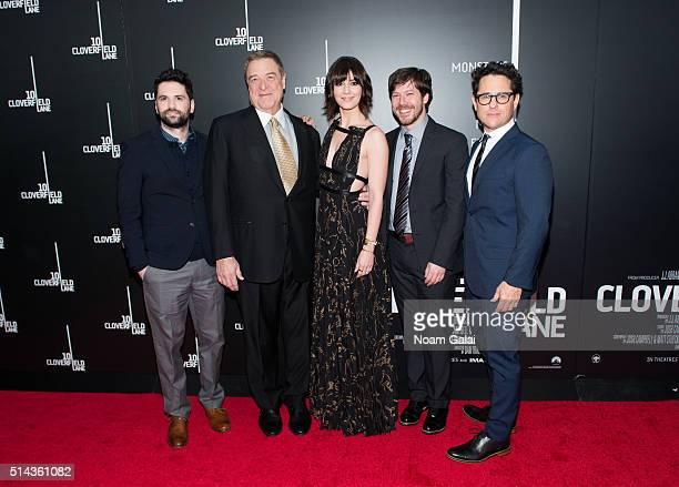 Dan Trachtenberg John Goodman Mary Elizabeth Winstead John Gallagher Jr and JJ Abrams attend '10 Cloverfield Lane' New York premiere at AMC Loews...