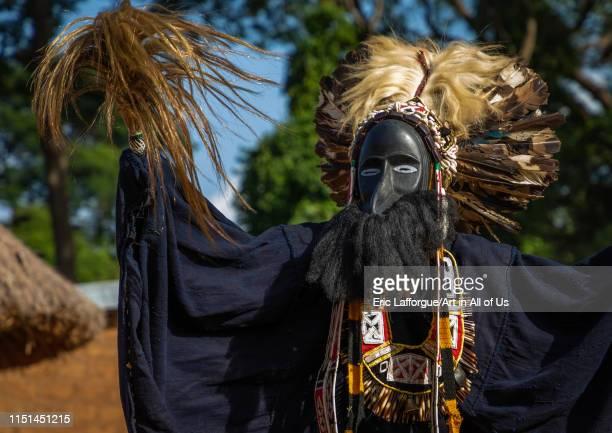 Dan tribe mask sacred dance during a ceremony Bafing Gboni Ivory Coast on May 5 2019 in Gboni Ivory Coast