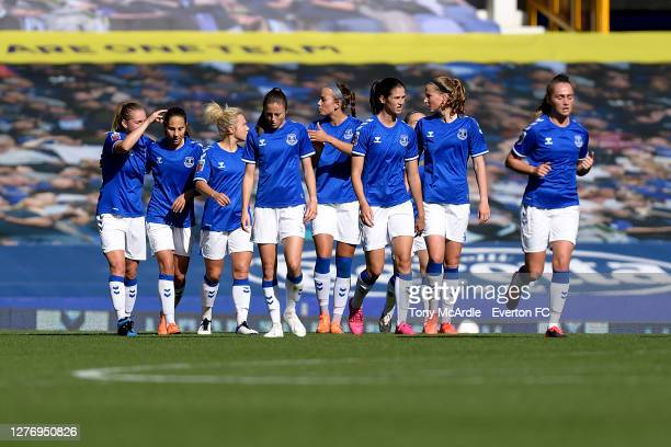 Dan Turner and team mates after the goal of Lucy Graham during the during the Women's FA Cup: Quarter Final match between Everton and Chelsea at...