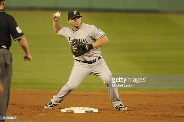 Dan Uggla of the Florida Marlins makes the force out at second base during a baseball game against the Washington Nationals on September 5, 2009 at...