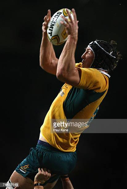 Dan Vickerman of Australia wins a line out during the Test match between the Australian Wallabies and Fiji at Subiaco Oval June 9 2007 in Perth...