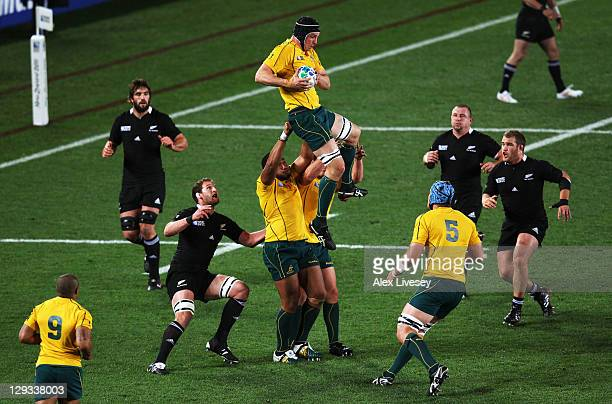 Dan Vickerman of the Wallabies catches the line out during semi final two of the 2011 IRB Rugby World Cup between New Zealand and Australia at Eden...