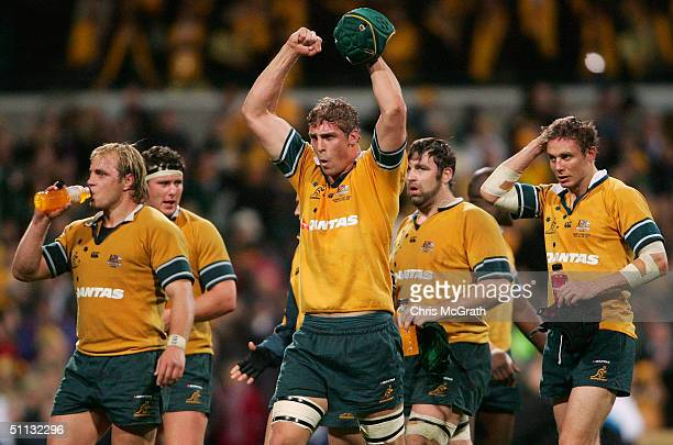 Dan Vickerman of the Wallabies celebrates victory in the Tri Nations rugby union test between the Australian Wallabies and the South African...
