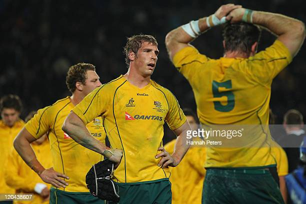 Dan Vickerman of the Wallabies looks on after losing the TriNations Bledisloe Cup match between the New Zealand All Blacks and the Australian...