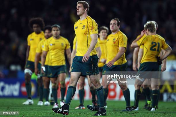 Dan Vickerman of the Wallabies walks dejected after defeat in the semi final two of the 2011 IRB Rugby World Cup between New Zealand and Australia at...