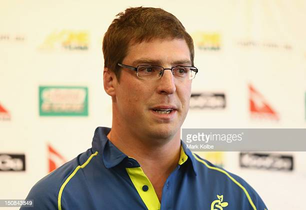 Dan Vickerman speaks to the media during an Australian Wallabies press conference to announce his retirement at ARU HQ on August 28 2012 in Sydney...