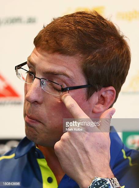 Dan Vickerman wipes his eye after speaking to the media during an Australian Wallabies press conference to announce his retirement at ARU HQ on...