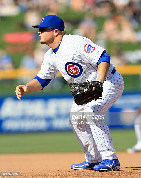 Dan Vogelbach of the Chicago Cubs plays first base against the Cleveland Indians during a spring training baseball game at Cubs Park on March 7 2014...