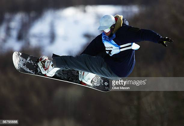 Dan Wakeham of Great Britian practices during snowboard training prior to the Turin 2006 Winter Olympic Games on February 9, 2006 in Bardonecchia,...