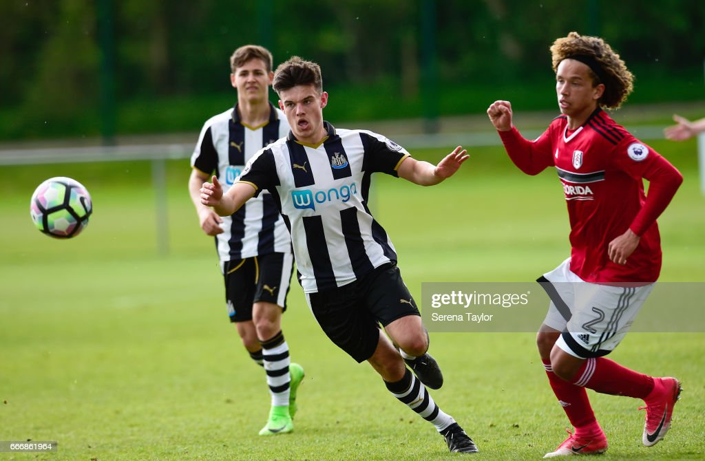 Dan Ward of Newcastle (7) runs towards the ball during the Premier League 2 Match between Newcastle United and Fulham at Whitley Park on April 10, 2017 in Newcastle upon Tyne, England.