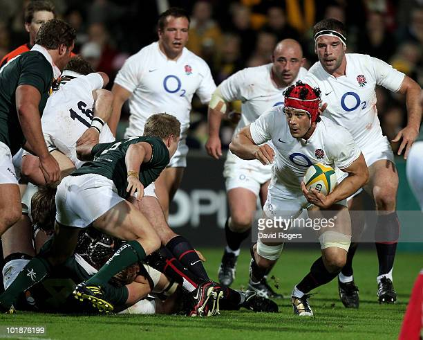Dan WardSmith charges upfield during the match between the Australian Barbarians and England at the Members Equity Stadium on June 8 2010 in Perth...