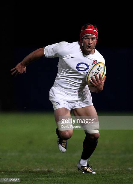 Dan WardSmith of England runs with the ball during the match between the Australian Barbarians and England at on June 15 2010 in Gosford Australia