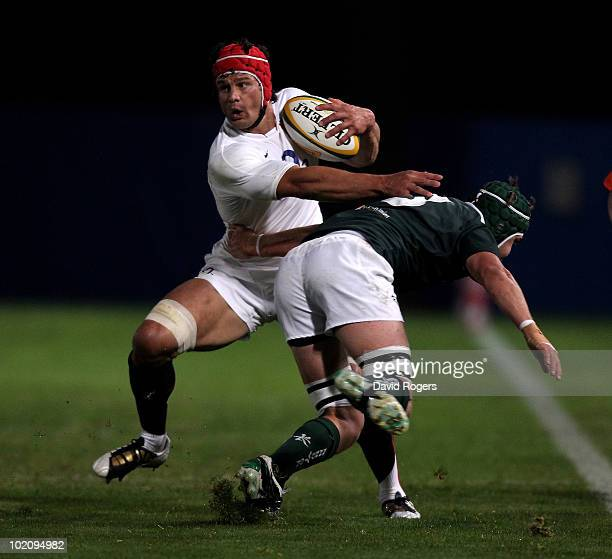 Dan WardSmith of England takes on Stephen Hoiles during the match between the Australian Barbarians and England at on June 15 2010 in Gosford...