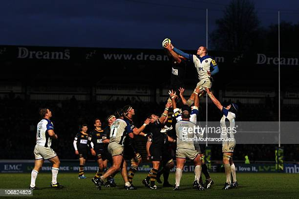 Dan WardSmith of Wasps and Josh Ovens stretch for the ball during the London Wasps and Bath LV Anglo Welsh Cup match at Adams Park on November 14...