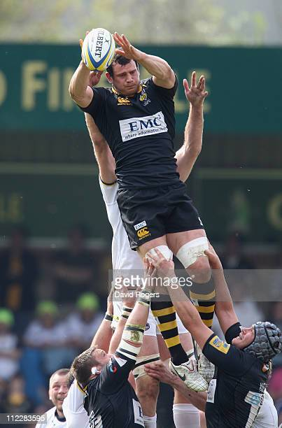Dan WardSmith of Wasps catches the ball during the Aviva Premiership match between London Wasps and Leeds Carnegie at Adams Park on April 17 2011 in...