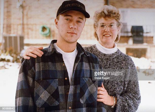 Dan Weber, who was disowned by parents Ken & Diane, posing w. Grandmother Agnes Rosener outside.