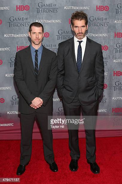 Dan Weiss and David Benioff attend the 'Game Of Thrones' Season 4 premiere at Avery Fisher Hall Lincoln Center on March 18 2014 in New York City