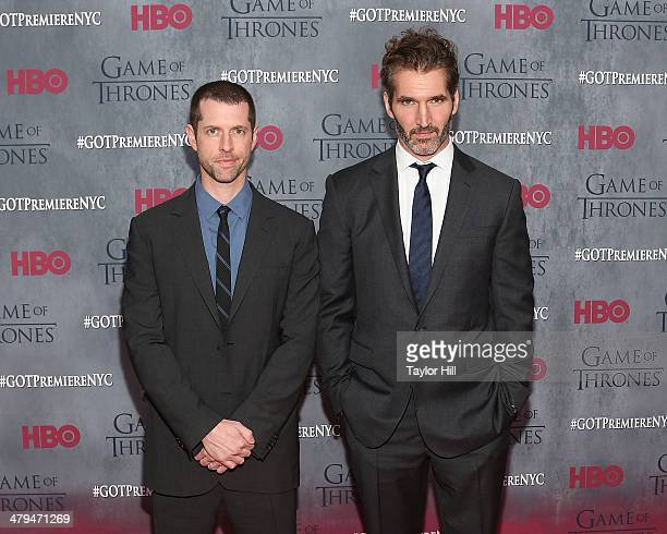 Dan Weiss and David Benioff attend the Game Of Thrones Season 4 premiere at Avery Fisher Hall Lincoln Center on March 18 2014 in New York City