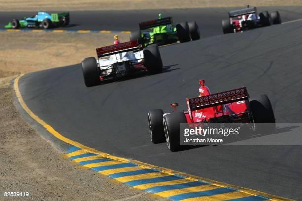 Dan Weldon in the Target Chip Ganassi Racing Dallara Honda chases the pack during the IRL Indy Car Series PEAK Antifreeze Motor Oil Grand Prix of...