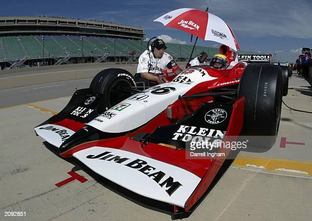 Dan Wheldon aboard the Andretti Green Racing Jim Beam/Klein Tools Honda Dallara during practice for the IRL IndyCar Series Honda Indy 225 on June 14...