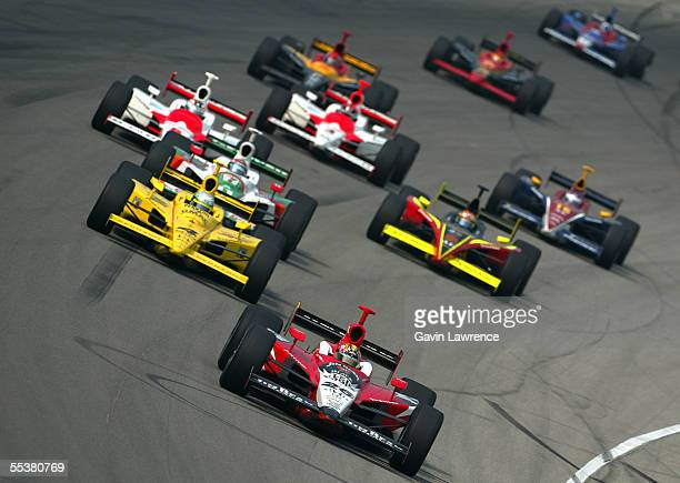 Dan Wheldon driver of the Klein Tools/Jim Beam Andretti Green Racing Jim Dallara Honda leads the rest of the field during the Indy Racing League...