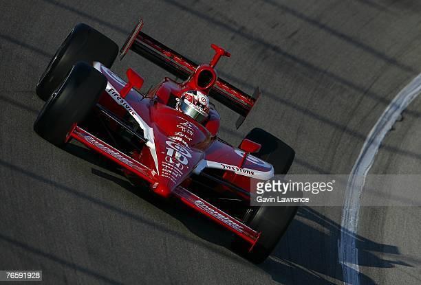 Dan Wheldon driver of the Target Chip Ganassi Racing Dallara Honda during practice for the Indy Racing League IndyCar Series Peak Antifreeze Indy 300...