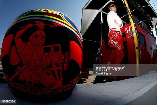 Dan Wheldon driver of the Target Chip Ganassi Racing Dallara Honda during practice for the IRL IndyCar Series PEAK Antifreeze Motor Oil Indy 300 on...