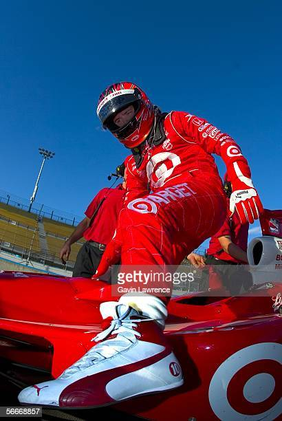 Dan Wheldon driver of the Target Ganassi Racing Dallara Honda during testing for the IRL Indycar Series on January 25 2006 at the Phoenix...