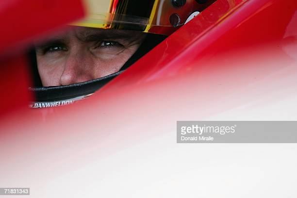 Dan Wheldon driver of the Target Ganassi Racing Dallara Honda looks on from the pits during practice for the Indy Racing League IndyCar Series Peak...