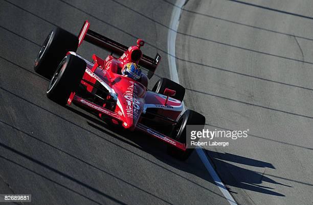 Dan Wheldon drives the Target Chip Ganassi Racing Dallara Honda during practice for the IndyCar Series Peak Antifreeze Motor Oil Indy 300 on...