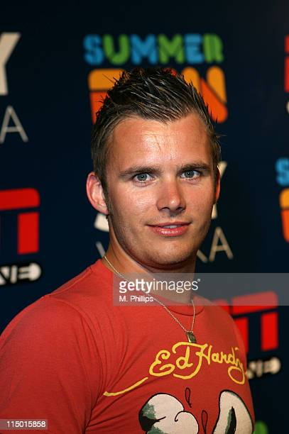 Dan Wheldon during Skyy at ESPN the Magazine's Summer Fun Party Blue Carpet in Los Angeles California United States