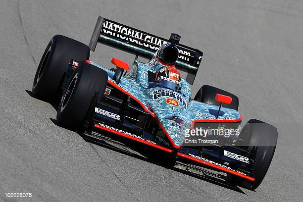 Dan Wheldon of England driver of the National Guard Panther Racing Dallara Honda during practice for the IRL Indycar Series Iowa Corn Indy 250 on...