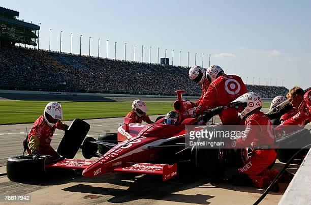 Dan Wheldon pits the Target Chip Ganassi Racing Dallara Honda during the IRL IndyCar Series PEAK Antifreeze Indy 300 on September 9 2007 at the...