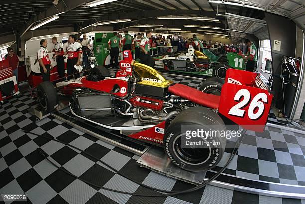 Dan Wheldon's Andretti Green Racing Jim Beam/Klein Tools Honda Dallara sits in the garage prior to the IRL IndyCar Series Honda Indy 225 at the Pikes...