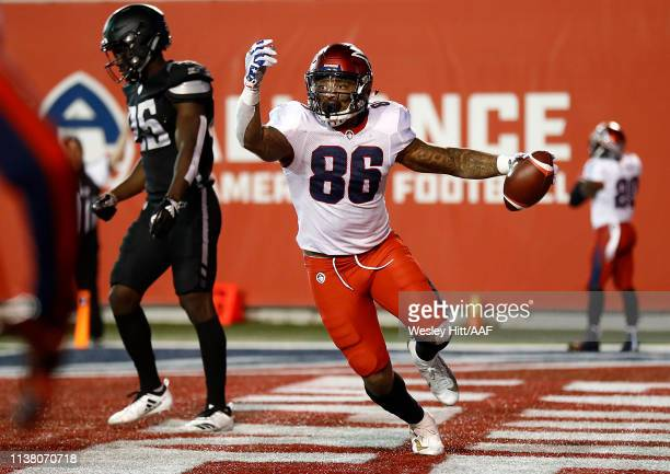 Dan Williams of the Memphis Express celebrates making the gamewinning touchdown during overtime against the Birmingham Iron in their Alliance of...