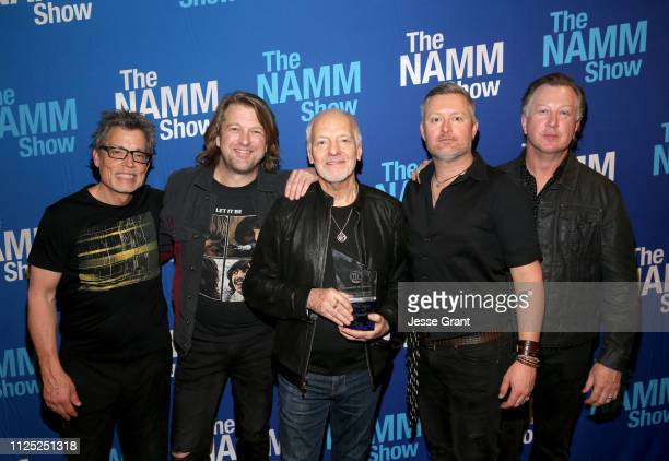 Dan Wojciechowski Rob Arthur Peter Frampton Adam Lester and Steve Mackie pose backstage at the TEC Awards during the 2019 NAMM Show at the Hilton...