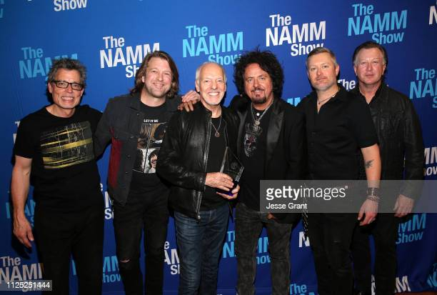 Dan Wojciechowski Rob Arthur Peter Frampton Steve Lukather Adam Lester and Steve Mackie pose backstage at the TEC Awards during the 2019 NAMM Show at...