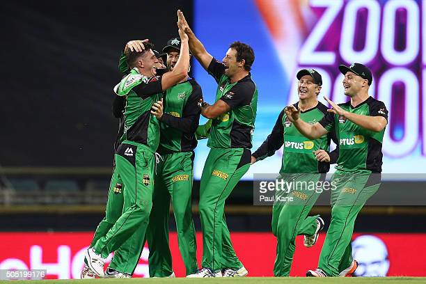 Dan Worrall and Ben Hilfenhaus of the Stars celebrate the wicket of Ashton Agar of the Scorchers during the Big Bash League match between the Perth...