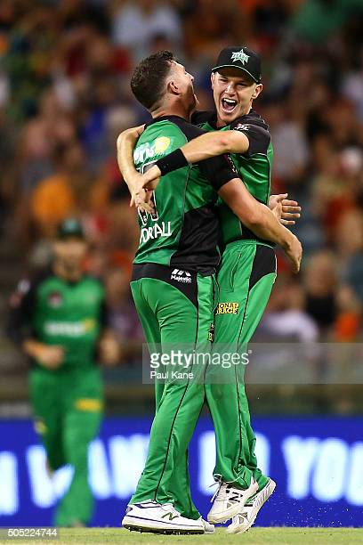 Dan Worrall and Luke Wright of the Stars celebrate the wicket of Matt Dixon of the Scorchers and winning the Big Bash League match between the Perth...
