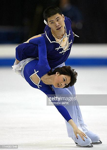 Dan Zhang and Hao Zhang of China perform during the Pairs Free Skating competition at the 2003 World Figure Skating Championships 26 March 2003 at...