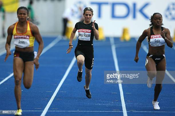 Dana Abdul Razak of Iraq competes in the women's 100 Metres Heats during day two of the 12th IAAF World Athletics Championships at the Olympic...