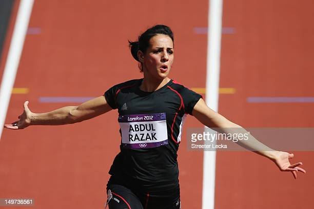 Dana Abdul Razak of Iraq competes in the Women's 100m Heats on Day 7 of the London 2012 Olympic Games at Olympic Stadium on August 3 2012 in London...